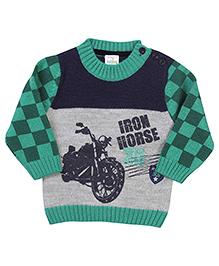 Babyhug Pullover Sweater Iron Horse Print - Green Grey