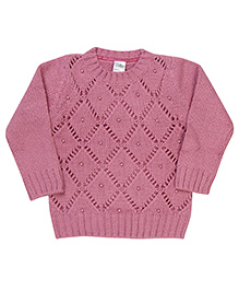 Babyhug Full Sleeves Pullover Sweater - Light Pink