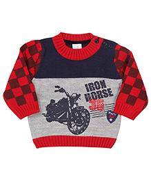 Babyhug Pullover Sweater Iron Horse Print - Red Grey