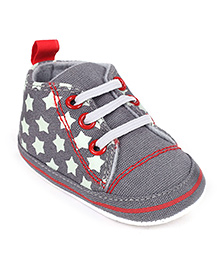 Cute Walk Shoes Style Booties Stars Print - Grey