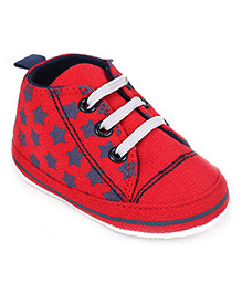 Cute Walk Shoes Style Booties Stars Print - Red