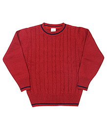 Babyhug Full Sleeves Round Neck Sweater - Maroon