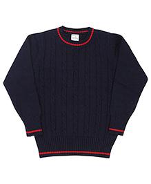 Babyhug Full Sleeves Round Neck Sweater - Navy Blue