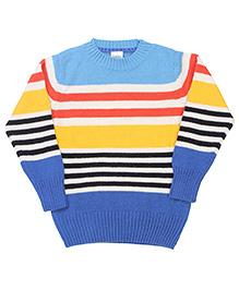 Babyhug Full Sleeves Sweater Multicolour Stripes - Blue