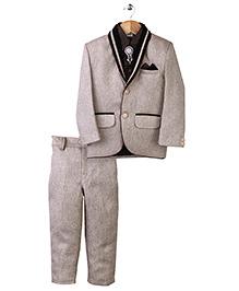 Babyhug Party Wear 3 Piece Coat Suit - Beige