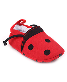 Cute Walk Booties Dotted Print - Red