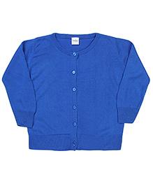 Babyhug Plain Full Sleeves Cardigan - Royal Blue