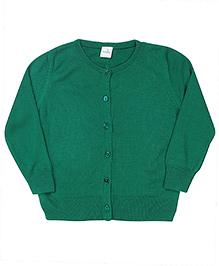 Babyhug Plain Full Sleeves Cardigan - Green