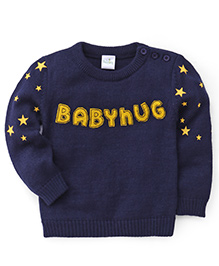 Babyhug Pullover Sweater Stars Print - Navy Blue