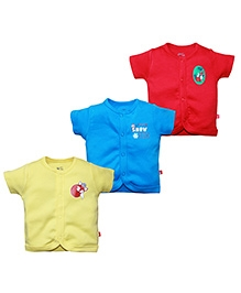 FS Mini Klub Half Sleeves Vest Set Of 3 - Red Blue And Yellow