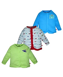 FS Mini Klub Full Sleeves Vests Set Of 3 - Blue Red And Green