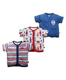 FS Mini Klub Half Sleeves Vests Set Of 3 - Multicolor