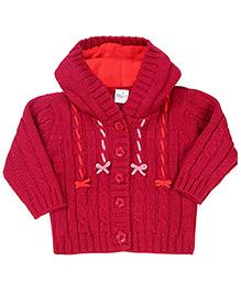 Babyhug Hooded Cardigan Embroidery - Cherry Pink