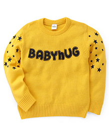Babyhug Pullover Sweater Stars Print - Yellow