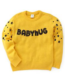 Babyhug Pullover Sweater Stars Print - Yellow