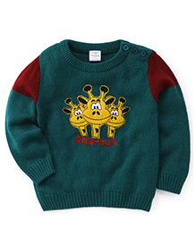 Babyhug Full Sleeves Sweater Giraffe Embroidery - Green