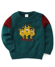 Babyhug Full Sleeves Sweater Giraffe Embroidery - Green