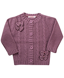 Wingsfield Bow Design Cardigan - Purple