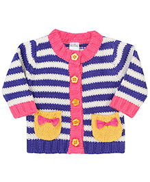 Babyhug Striped Bow Design Sweater - Pink And Navy