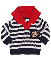 Babyhug Striped Hooded Pullover Puppy Patch - Navy Blue