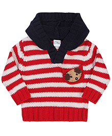 Babyhug Striped Hooded Pullover Puppy Patch - Red