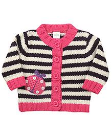 Babyhug Full Sleeves Striped Cardigan - Pink