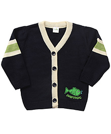 Babyhug Full Sleeves Sweater Fish Design - Navy And Green