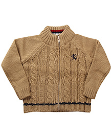 Wingsfield Front Zippered Cable Knit Sweater - Light Brown