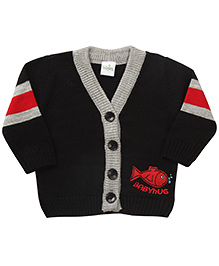 Babyhug Full Sleeves Sweater Fish Design - Black And Red