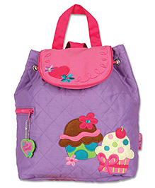 Stephen Joseph Quilted Backpack Cupcake Patch Light Purple - Height 13 Inches