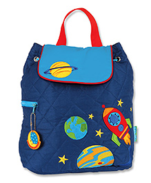 Stephen Joseph Quilted Backpack Space Patch Dark Blue - Height 13 Inches