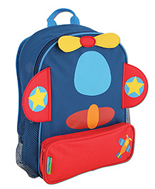 Stephen Joseph Sidekicks Backpack Airplane Blue And Red - Height 12.75 Inches
