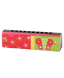 Stephen Joseph Wood And Plastic Harmonica Butterfly - Red And Green
