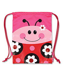 Stephen Joseph Drawstring Bag Ladybug Pink And Red - Height 15.5 Inches