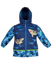 Stephen Joseph Hooded Raincoat Shark Design - Blue