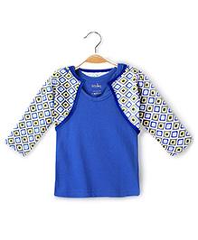 Ikat by Babyhug Racer Back Top And Printed Shrug - Blue And Grey