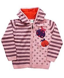 Babyhug Full Sleeves Woolen Hoodie Sweater - Purple