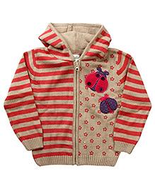 Babyhug Full Sleeves Woolen Hoodie Sweater - Pink