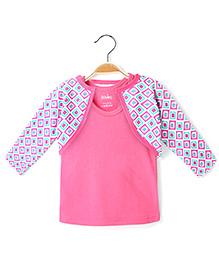 Ikat by Babyhug Racer Back Top And Printed Shrug - Pink