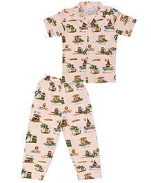 Ollypop Half Sleeves Printed Night Suit - Light Peach