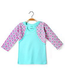 Ikat by Babyhug Racer Back Top And Printed Shrug - Aqua And Pink