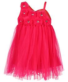 Babyhug Sleeveless Netted Party Frock - Pink