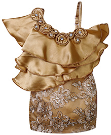 Chocopie Sleeveless Floral Embroidery Frock - Gold