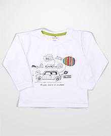 Ollypop Full Sleeves T-Shirt Graphic Print - White