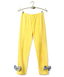 Ikat by Babyhug Solid Color Legging Bow Applique - Yellow