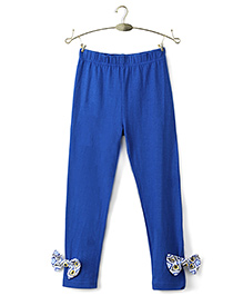 Ikat by Babyhug Solid Color Legging Bow Applique - Royal Blue