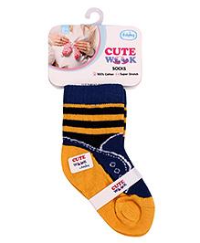 Cute Walk Striped Ankle Socks - Royal Blue Yellow