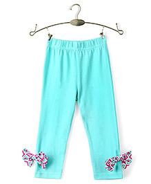 Ikat by Babyhug Solid Color Legging Bow Applique - Aqua