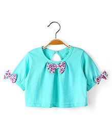 Ikat by Babyhug Half Sleeves Short Bow Top - Aqua