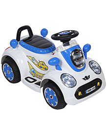 Battery Operated Ride-On Kids Car White And Blue - 128B